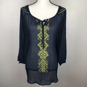 HeartSoul Plus Navy Blue Embroidered Sheer Tunic